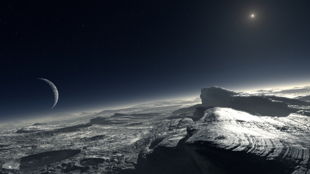 rendition of Pluto's Ice world