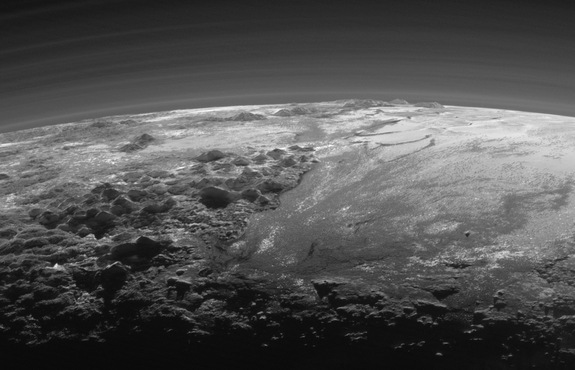 Sunset on Pluto as observed from New Horizons Probe