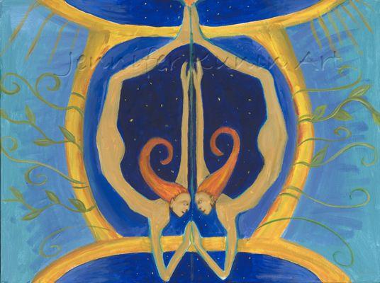"GEMINI painting by Jennifer Kunin Gemini The Twins ""I Think"""
